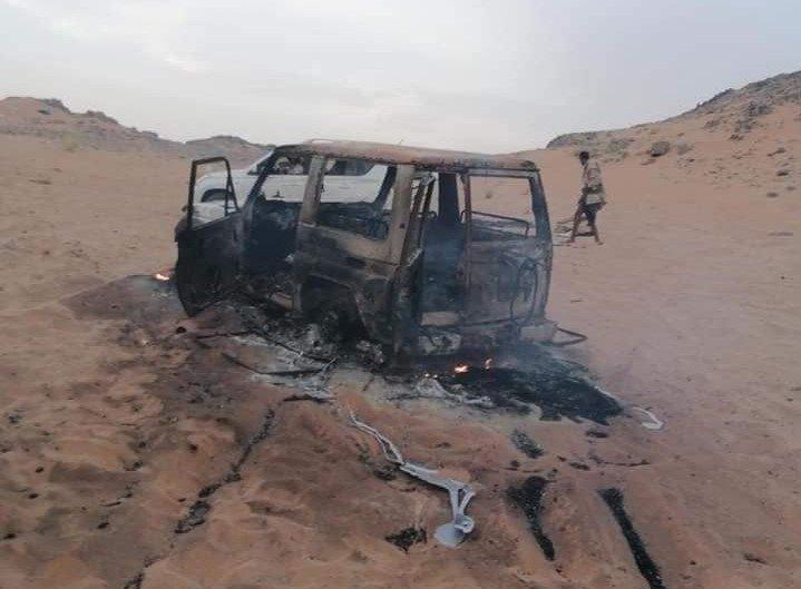 سيارة قيادي حوثي لقي مصرعه شرقي الجوف