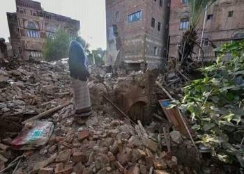 منزل البردوني في صنعاء عقب انهياره